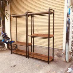 Bộ kệ treo quần áo khung chân sắt mặt gỗ GHT-284